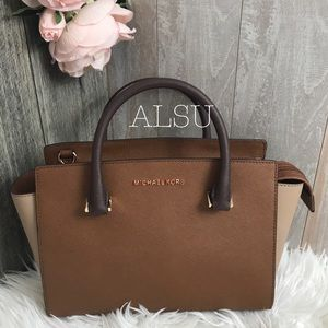 Michael Kors Selma Med TZ Satchel LE Brown Multi